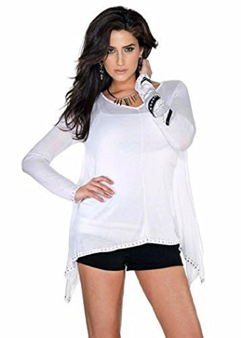 Belldini Pullover Top with Heat Seal Bangles Trim and Handkerchief Hem