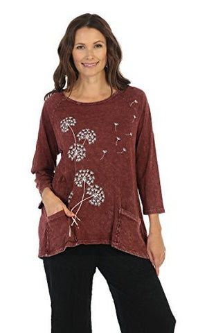 Jess & Jane Mineral Washed 3/4 Sleeve, Cotton Sublimation Patch Pocket Tunic