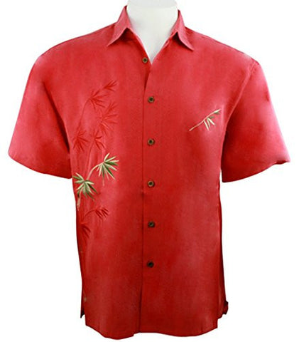 Bamboo Cay - Flying Bamboo, Embroidered Tropical Style Red Color Men's Shirt