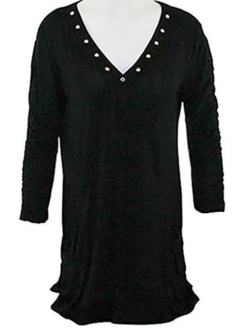 Impulse California - Rhinestone Embellished, V-Neck Tunic Top on a 3/4 Sleeve Body