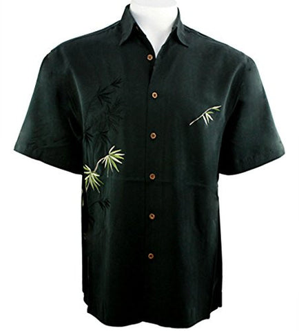 Bamboo Cay - Flying Bamboo with Embroidered Palms, Tropical Style Black Shirt
