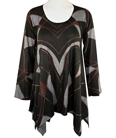 Nally & Millie - Layered Lines, Sharkbite Hem Scoop Neck Long Sleeve Tunic