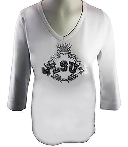 Collegiate Fashionista Louisiana State University College Top, Rhinestone School Logo