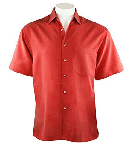 Bamboo Cay - Bellagio, Men's Tropical Style Salmon Color Button Front Camp Shirt
