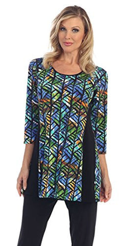 Caribe - Colored Angles, Black Side Trim, 3/4 Sleeve, Scoop Neck Long Tunic