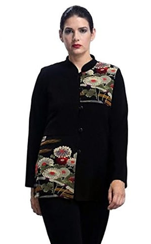 IC Collection - Dual Floral, Floral Patch Pattern Button Front Asian Style Jacket