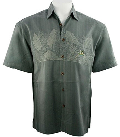 Bamboo Cay - Bird of Paradise, Tropical Style Button Front Ocean Colored Shirt