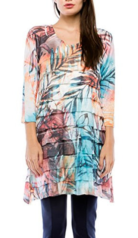 Cubism Apparel -Tropical Threads, V-Neck, 3/4 Sleeve, Ruffled Burnout Tunic