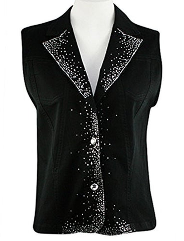 Katina Marie Crystal Trim Sleeveless Rhinestone Button Front Black Denim Vest