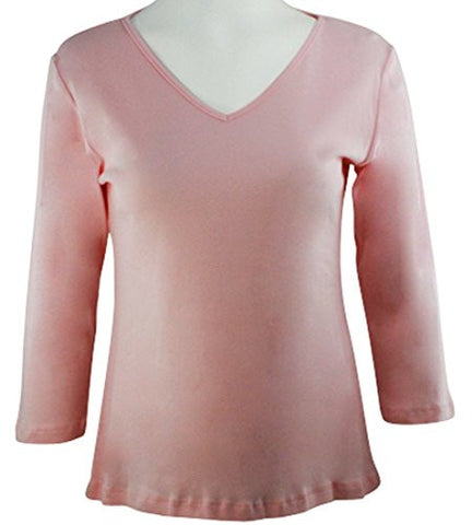 Katina Marie Pink Colored 3/4 Sleeve V-Neck Cotton Top
