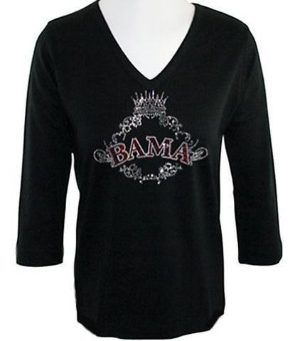 Collegiate Fashionista U of Alabama College Top, Rhinestone Accents on School Logo