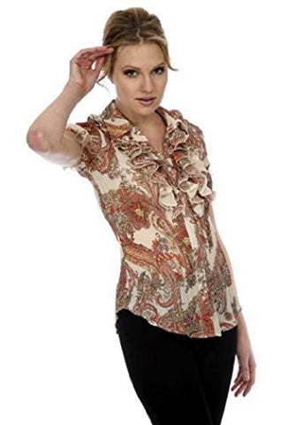 Cathaya Pleated Paisley Print Blouse with a Layered Ruffled Collar