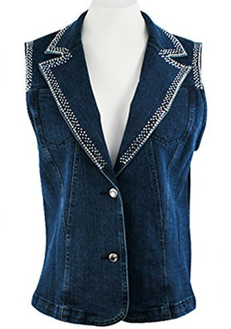 Katina Marie Sleeveless Rhinestone Trimmed Pockets Button Front Dark Denim Vest