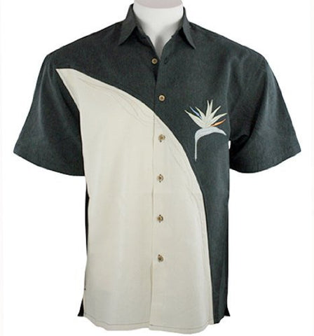 Bamboo Cay - Black Bird of Paradise, Tropical Style Embroidered Men's Shirt
