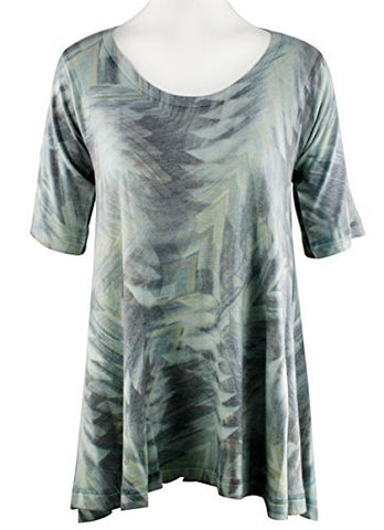 Nally & Millie Uplift, Scoop Neck, Short Sleeve Blue Grey Abstract Design Tunic
