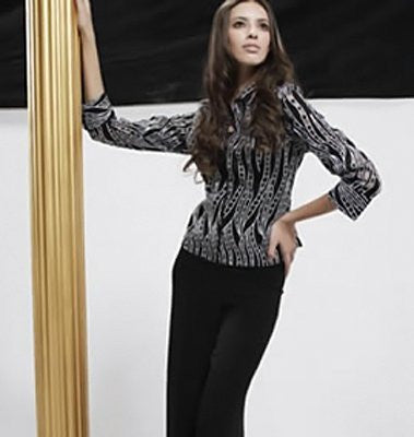 Samuel Dong - Vertical Blocks, 3/4 Cuffed Sleeve, Geometric Design Blouse