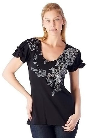 IDI - Abstract Floral, Ruffled Cap Sleeve, Print Top with Embroidered Detailing