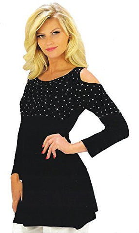 Crystaline Collections - Crystal Cut Outs, Swarovski Crystal Cold Shoulder 3/4 Sleeve Top