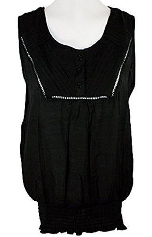 Select Clothing, Scoop Neck with Rhinestones, Button Front Black Top