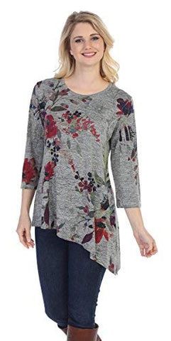 Jess and Jane - Evening Sonnet, 3/4 Sleeve, Slinky Knit Asymmetric Hem Tunic Top