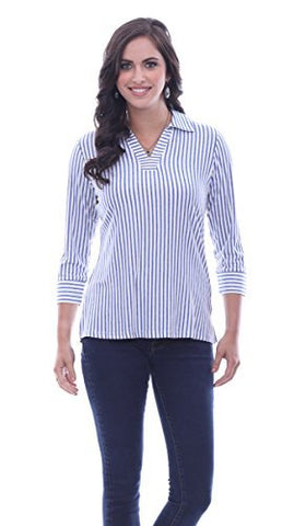 Parsley & Sage Natalie, 3/4 Sleeve, V-Neck, Blue Striped Henley Fashion Top