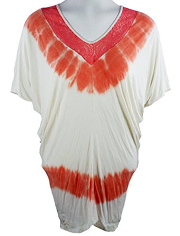 Gypsy Daisy - Peach Flutter, Dolman Sleeve, Trimmed V-Neck Top
