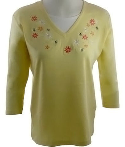 Morning Sun - Bee Bright Top, 3/4 Sleeve Accented with Appliques
