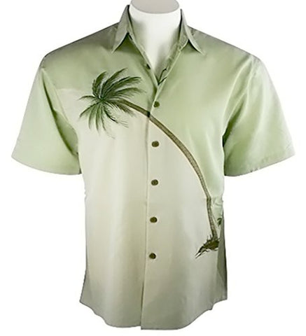 Bamboo Cay - Hurricane Palm, Embroidered Tropical Style Shirt Palm Green