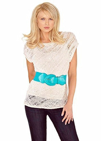 Belldini Short Sleeve White Colored Crochet Knit Fashion Pullover Top