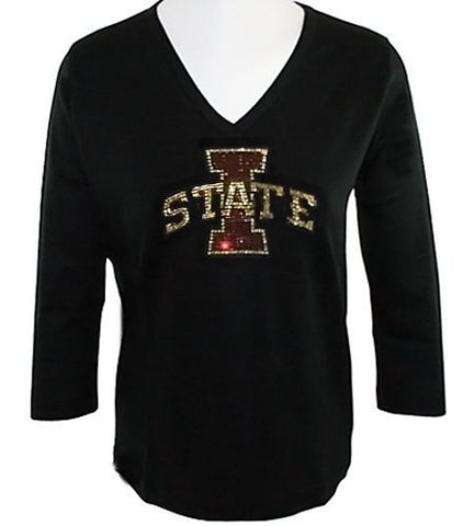 Collegiate Fashionista Iowa State University Woman's College Top, Rhinestone Embellished with School Logo