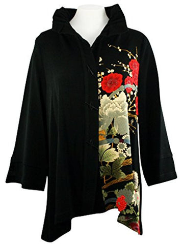 Moonlight - Asian Garden, Sharkbite Hem Long Sleeve Wired Collar Floral Jacket