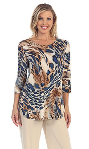 Caribe - Safari Quest, Dual Pockets, Hi-Lo Hem 3/4 Sleeve Scoop Neck Swing Tunic