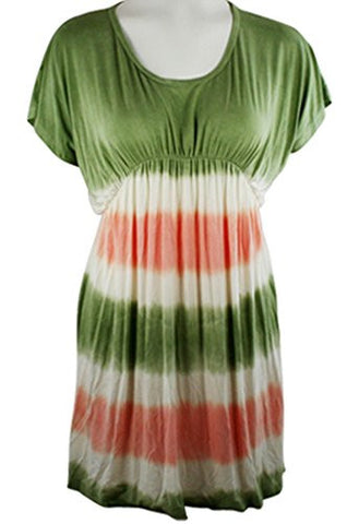 Gypsy Daisy - Color Shades, Short Sleeve, Scoop-Neck, Mini Dress - Tunic Top