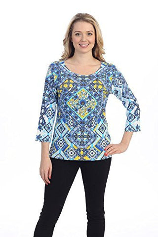 Katina Marie Blue Mosaic, 3/4 Sleeve Geometric Print Scoop Neck Fashion Top