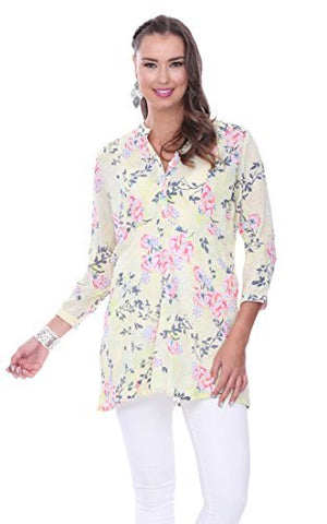 Parsley & Sage - Sunny, 3/4 Sleeve Henley Tunic Top on a Floral Patterned Body