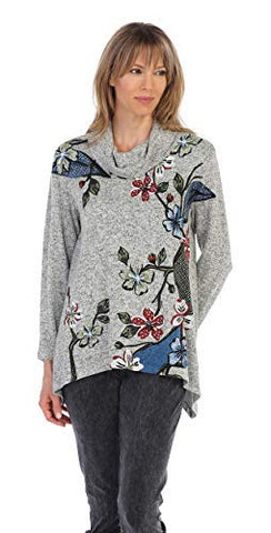 Jess & Jane - Tree Story, 3/4 Sleeve, Brushed Hacci, Crower Neck Casual Tunic Top