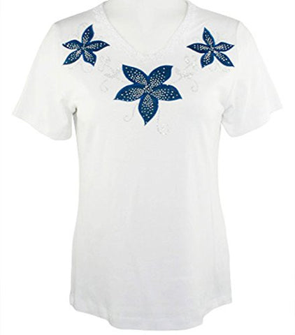 Cactus Fashion - Three Flowers, Short Sleeve, Lace Trim Rhinestone Cotton Top