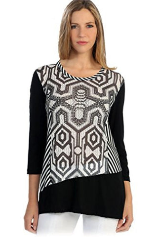 Cactus Fashion - Striped Mesh, 3/4 Sleeve, Color Block Black & White Tunic Top