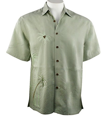 Bamboo Cay - Flying Palms, Tropical Style Palm Green Embroidered Men's Shirt