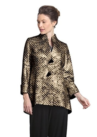 IC Collection Asian Style Mandarin Collar Two Button Bronze Jacket Cuff Sleeve
