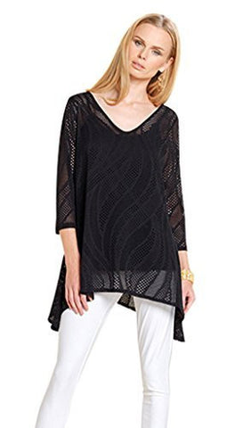 Clara Sun Woo Eyelet Stretch Knit w/Side Points, V-Neck Black Tunic Top