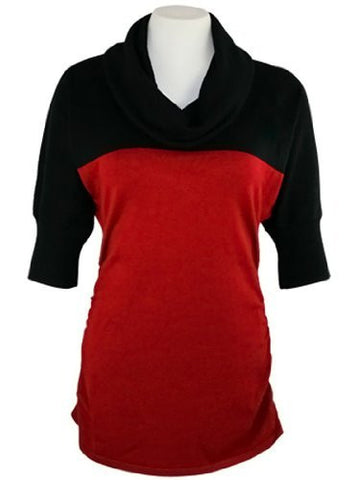 FX Fusion Knits - Black & Scarlet, Cowl Neck Top with Two Tone Color Block