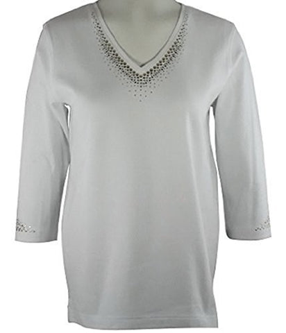 Christine Alexander Gold & Amber Swarovski Crystals, 3/4 Sleeve V-Neck Top