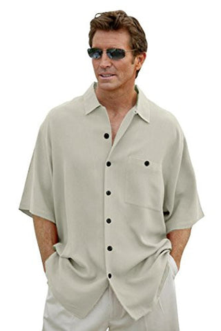 Luau Riviera - Ivory Short Sleeve, Vented Hem Shirt with Two Rear Pleats