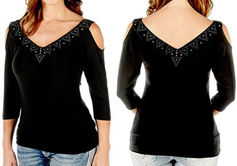 Liberty Wear Aztec Sasha, 3/4 Sleeve V-Neck Rhinestone Accent Black Fashion Top