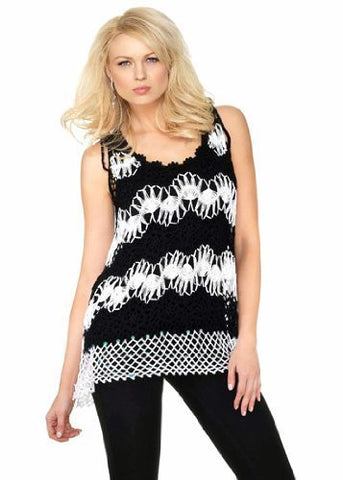Belldini Striped Crochet Knit Tank Top with Sequin Highlights at Hem