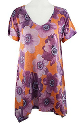 Nally & Millie - Lavender Flower, V-Neck Short Sleeve Floral Theme Tunic Top