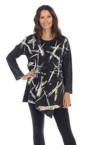 Jess & Jane - Dazzeling, Mineral Washed, Cotton Sublimation, Scoop Neck Tunic