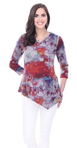 Parsley & Sage - Dawn, Asymmetric V-Neck Tunic 3/4 Sleeve Colorful Patterns