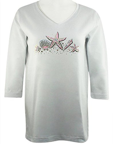 Christine Alexander - Starfish & Sea Shells, 3/4 Slv Top With Swarovski Crystal